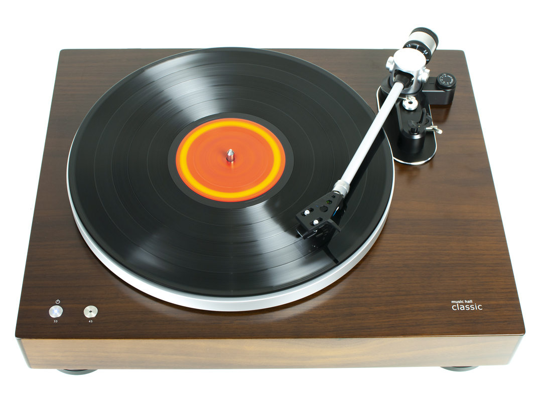 music hall classic turntable playing record